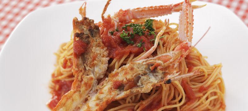 アカザ海老のトマトスパゲティ